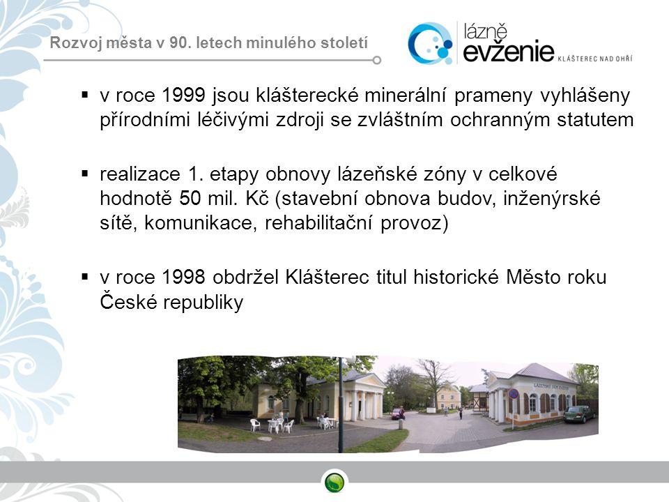 Rozvoj města v 90. letech minulého století  v roce 1999 jsou klášterecké minerální prameny vyhlášeny přírodními léčivými zdroji se zvláštním ochranný