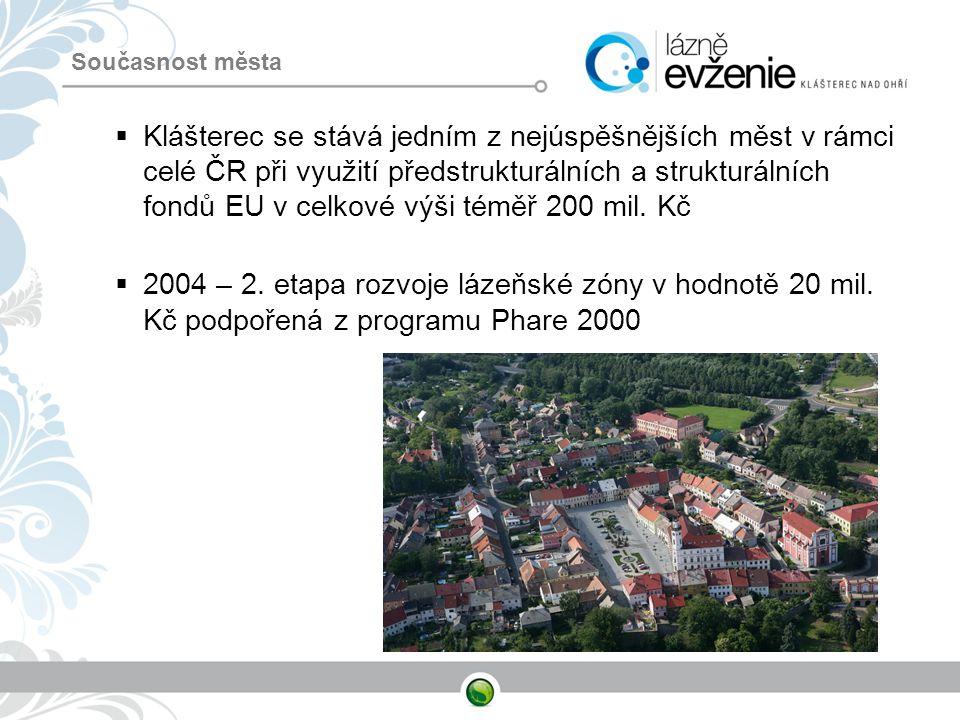 Současnost města  Klášterec se stává jedním z nejúspěšnějších měst v rámci celé ČR při využití předstrukturálních a strukturálních fondů EU v celkové
