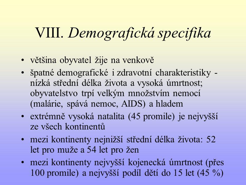 VIII. Demografická specifika většina obyvatel žije na venkově špatné demografické i zdravotní charakteristiky - nízká střední délka života a vysoká úm
