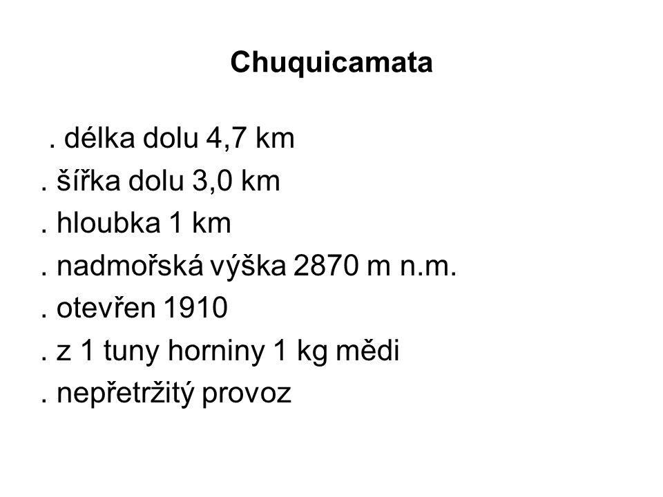 . délka dolu 4,7 km. šířka dolu 3,0 km. hloubka 1 km. nadmořská výška 2870 m n.m.. otevřen 1910. z 1 tuny horniny 1 kg mědi. nepřetržitý provoz