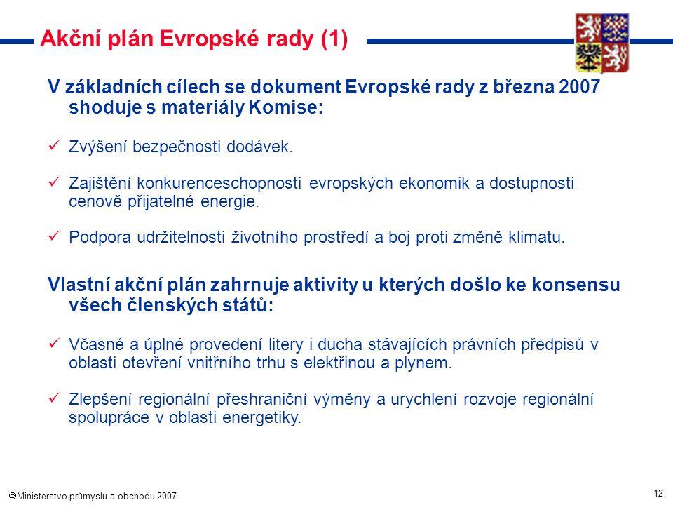 12  Ministerstvo průmyslu a obchodu 2007 Akční plán Evropské rady (1) V základních cílech se dokument Evropské rady z března 2007 shoduje s materiál