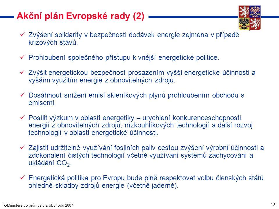 13  Ministerstvo průmyslu a obchodu 2007 Akční plán Evropské rady (2) Zvýšení solidarity v bezpečnosti dodávek energie zejména v případě krizových s