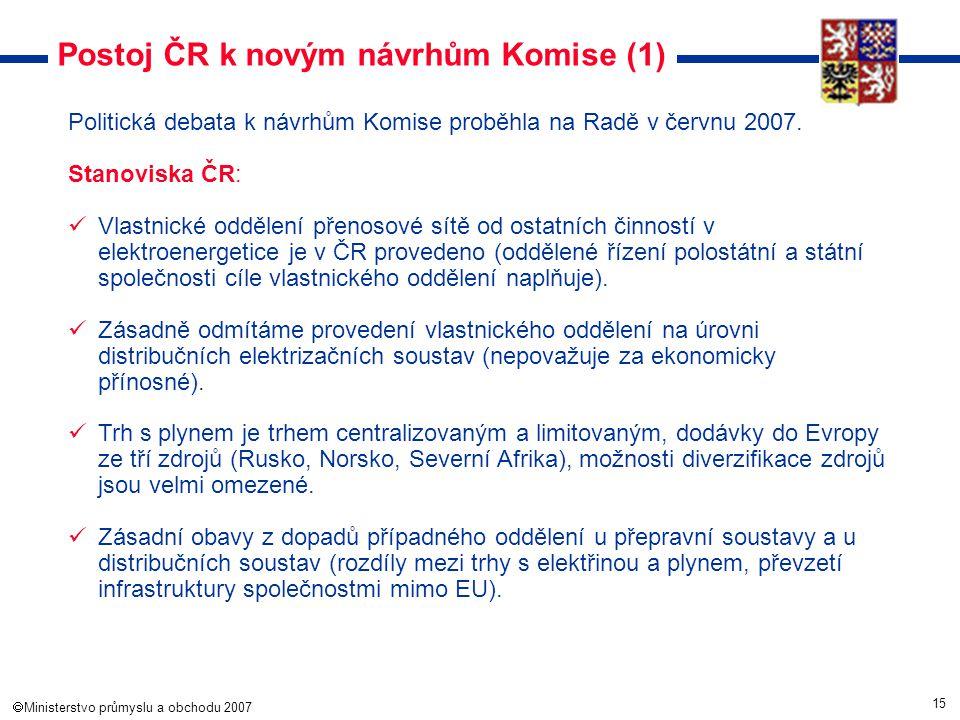 15  Ministerstvo průmyslu a obchodu 2007 Postoj ČR k novým návrhům Komise (1) Politická debata k návrhům Komise proběhla na Radě v červnu 2007. Stan