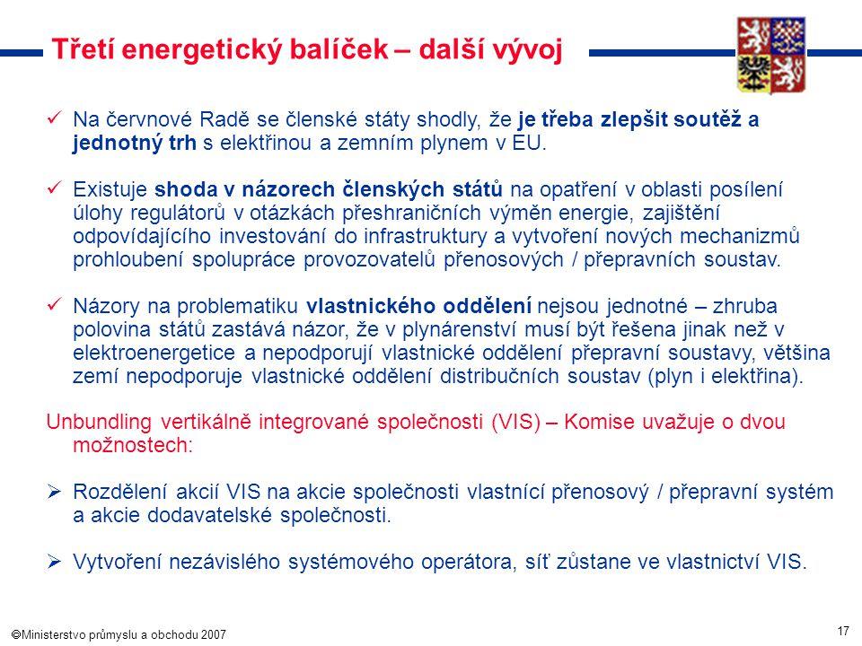 17  Ministerstvo průmyslu a obchodu 2007 Třetí energetický balíček – další vývoj Na červnové Radě se členské státy shodly, že je třeba zlepšit soutě