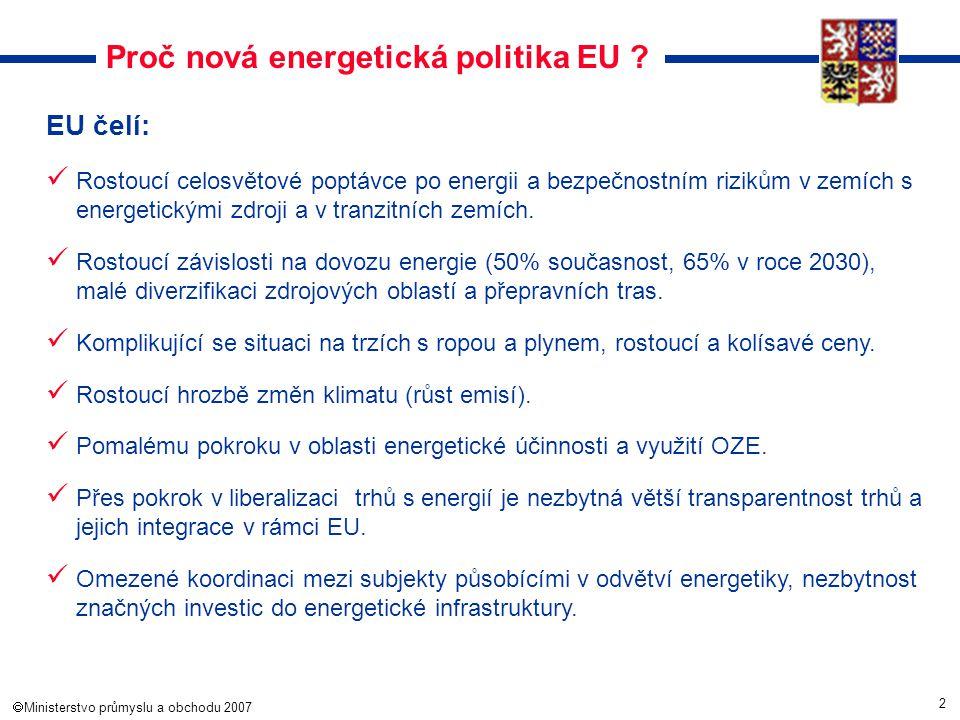 2  Ministerstvo průmyslu a obchodu 2007 Proč nová energetická politika EU ? EU čelí: Rostoucí celosvětové poptávce po energii a bezpečnostním riziků