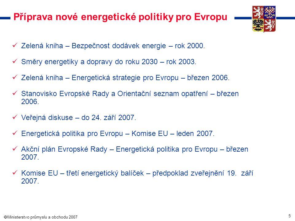 5  Ministerstvo průmyslu a obchodu 2007 Příprava nové energetické politiky pro Evropu Zelená kniha – Bezpečnost dodávek energie – rok 2000. Směry en