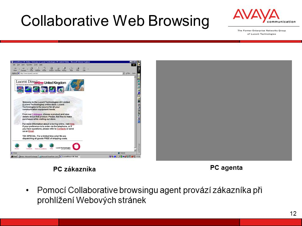 12 Collaborative Web Browsing Pomocí Collaborative browsingu agent provází zákazníka při prohlížení Webových stránek PC zákazníka PC agenta Agent ID: 1234 Logged on since: 07:32 Status: connected Customer Information Name: Blue Chip Acct No: 2433940 Agent Information Agent ID: 1234 Logged on since: 07:32 Status: connected Customer Information Name: Blue Chip Acct No: 2433940 Agent Information Agent ID: 1234 Logged on since: 07:32 Status: connected Customer Information Name: Blue Chip Acct No: 2433940 Agent Information