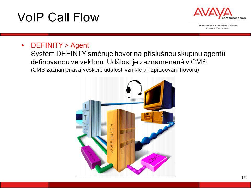 19 VoIP Call Flow DEFINITY > Agent Systém DEFINTY směruje hovor na příslušnou skupinu agentů definovanou ve vektoru.