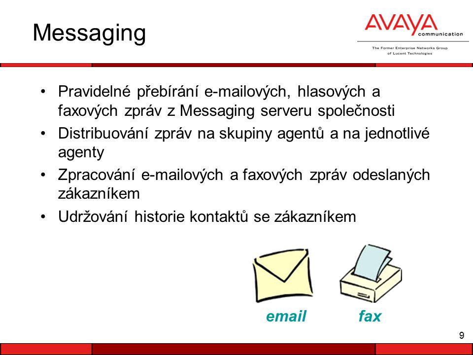 9 Messaging Pravidelné přebírání e-mailových, hlasových a faxových zpráv z Messaging serveru společnosti Distribuování zpráv na skupiny agentů a na jednotlivé agenty Zpracování e-mailových a faxových zpráv odeslaných zákazníkem Udržování historie kontaktů se zákazníkem email fax