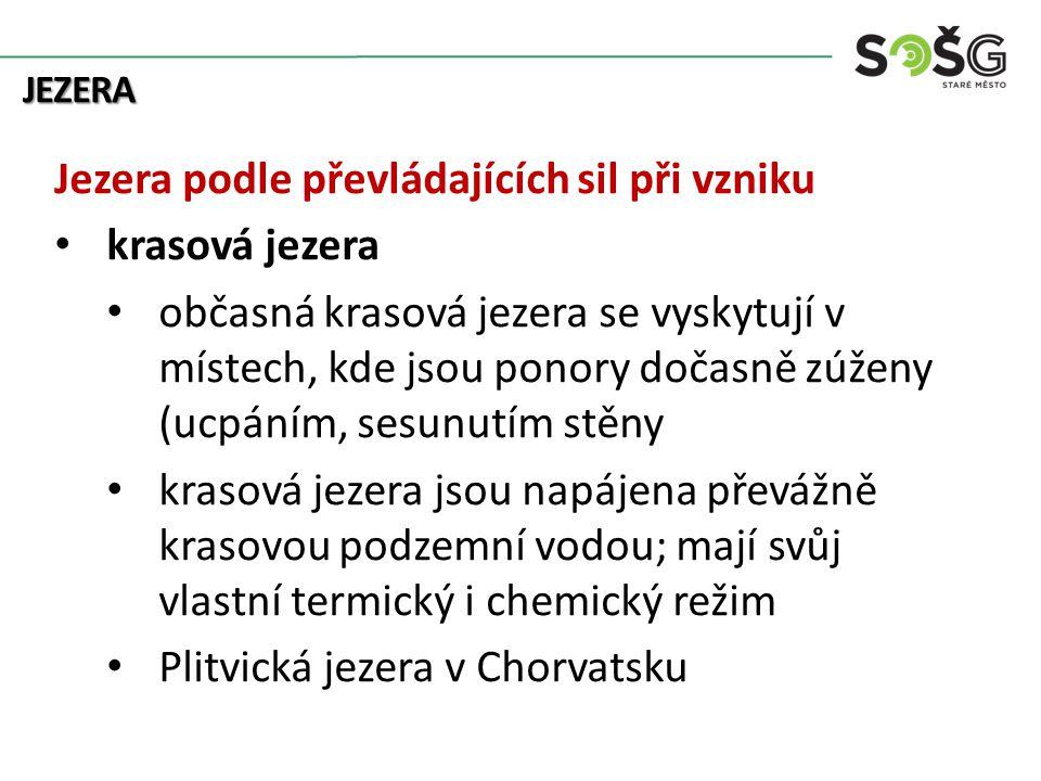 JEZERA Jezera podle převládajících sil při vzniku krasová jezera občasná krasová jezera se vyskytují v místech, kde jsou ponory dočasně zúženy (ucpáním, sesunutím stěny krasová jezera jsou napájena převážně krasovou podzemní vodou; mají svůj vlastní termický i chemický režim Plitvická jezera v Chorvatsku
