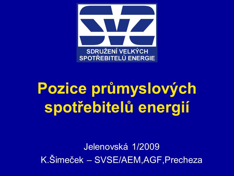 Pozice průmyslových spotřebitelů energií Jelenovská 1/2009 K.Šimeček – SVSE/AEM,AGF,Precheza