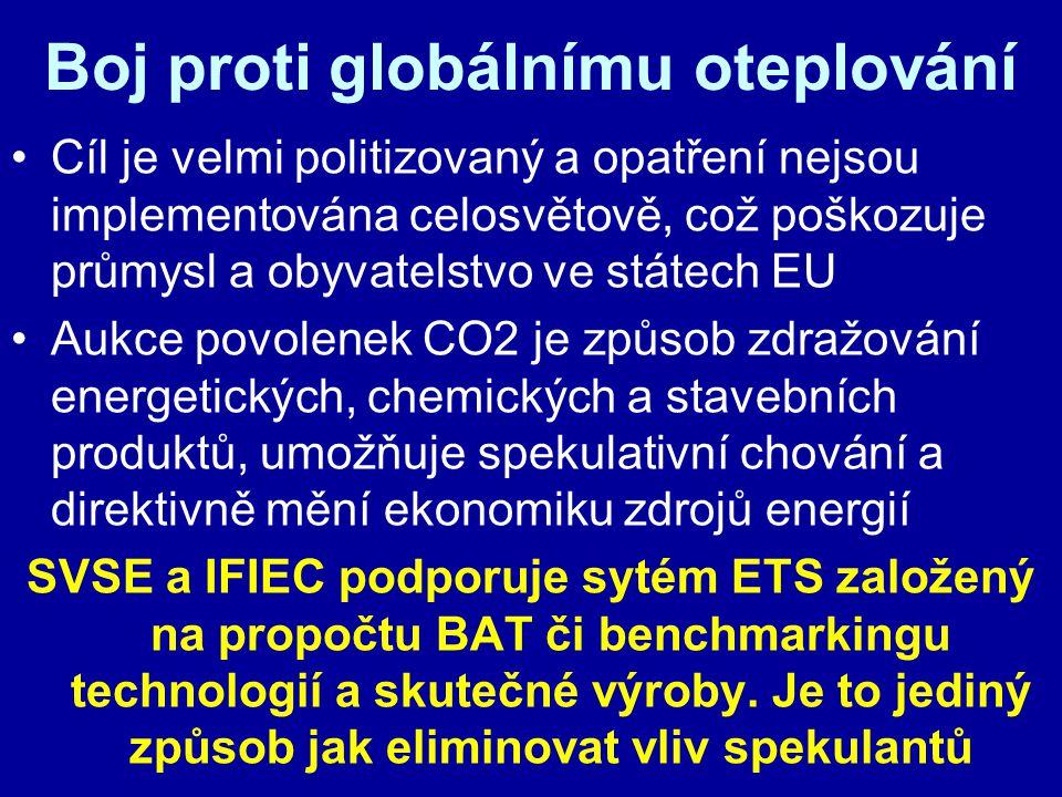 Boj proti globálnímu oteplování Cíl je velmi politizovaný a opatření nejsou implementována celosvětově, což poškozuje průmysl a obyvatelstvo ve státech EU Aukce povolenek CO2 je způsob zdražování energetických, chemických a stavebních produktů, umožňuje spekulativní chování a direktivně mění ekonomiku zdrojů energií SVSE a IFIEC podporuje sytém ETS založený na propočtu BAT či benchmarkingu technologií a skutečné výroby.
