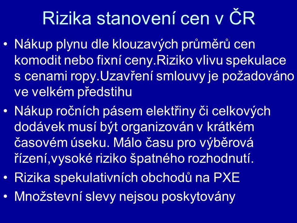 Rizika stanovení cen v ČR Nákup plynu dle klouzavých průměrů cen komodit nebo fixní ceny.Riziko vlivu spekulace s cenami ropy.Uzavření smlouvy je požadováno ve velkém předstihu Nákup ročních pásem elektřiny či celkových dodávek musí být organizován v krátkém časovém úseku.