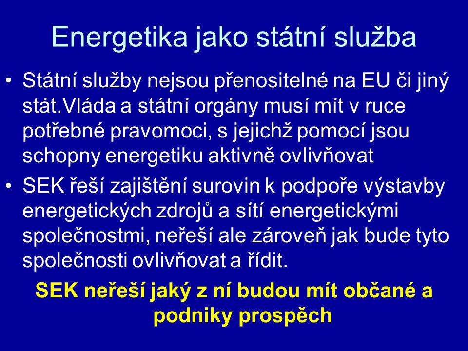 Energetika jako státní služba Státní služby nejsou přenositelné na EU či jiný stát.Vláda a státní orgány musí mít v ruce potřebné pravomoci, s jejichž pomocí jsou schopny energetiku aktivně ovlivňovat SEK řeší zajištění surovin k podpoře výstavby energetických zdrojů a sítí energetickými společnostmi, neřeší ale zároveň jak bude tyto společnosti ovlivňovat a řídit.