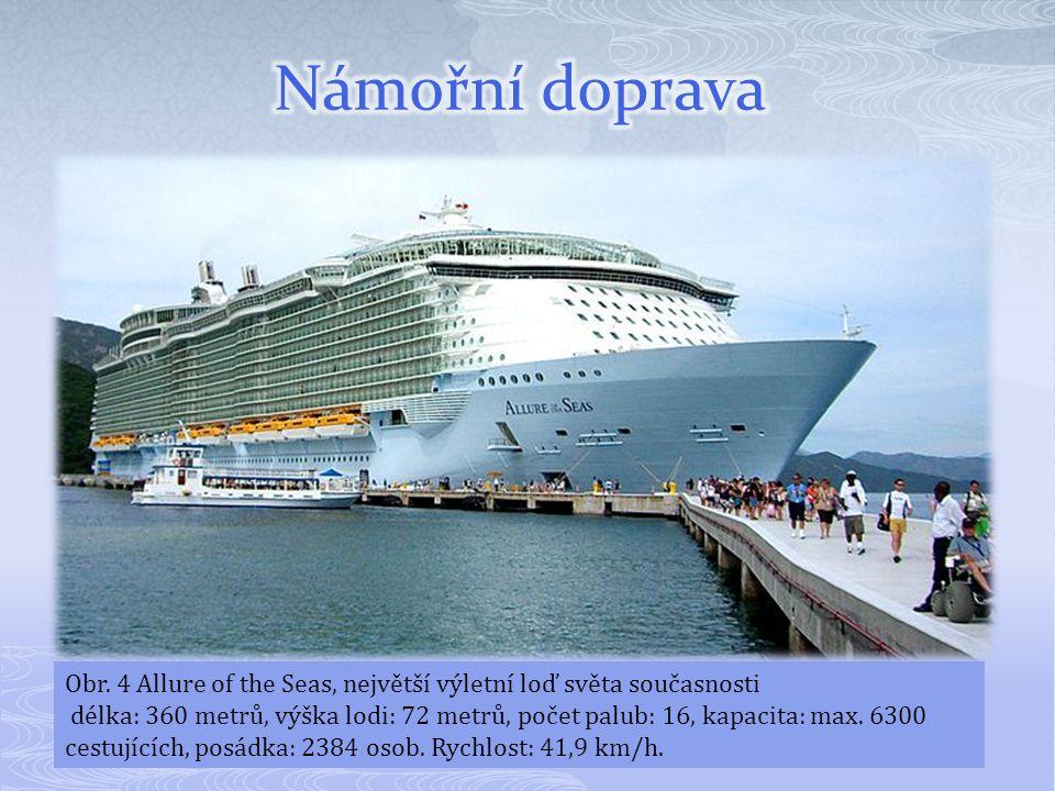 Obr. 4 Allure of the Seas, největší výletní loď světa současnosti délka: 360 metrů, výška lodi: 72 metrů, počet palub: 16, kapacita: max. 6300 cestují