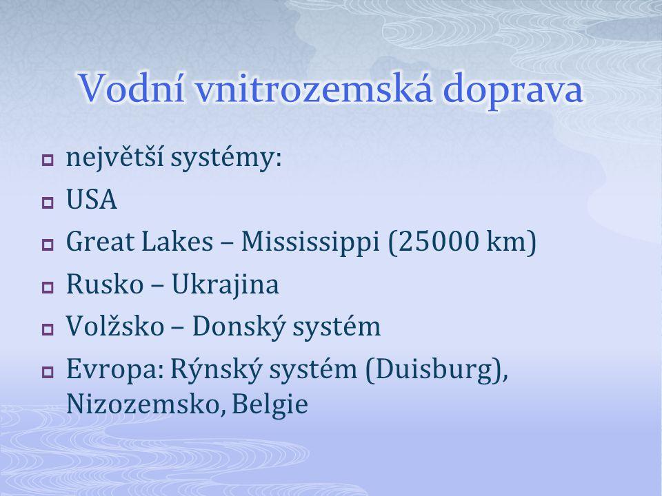  největší systémy:  USA  Great Lakes – Mississippi (25000 km)  Rusko – Ukrajina  Volžsko – Donský systém  Evropa: Rýnský systém (Duisburg), Nizozemsko, Belgie