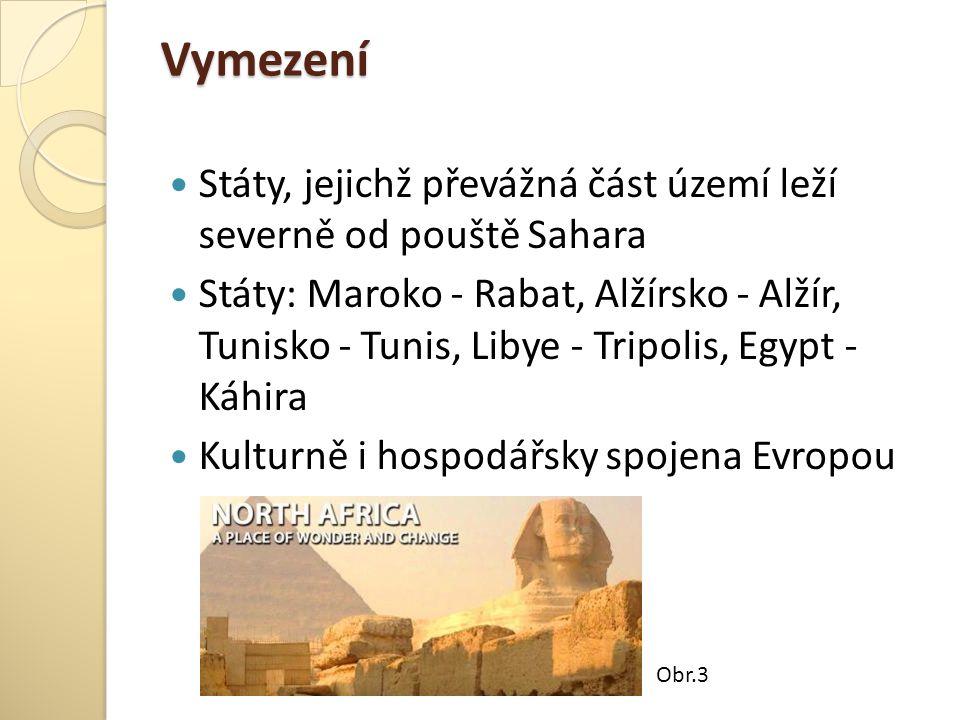 Vymezení Státy, jejichž převážná část území leží severně od pouště Sahara Státy: Maroko - Rabat, Alžírsko - Alžír, Tunisko - Tunis, Libye - Tripolis,