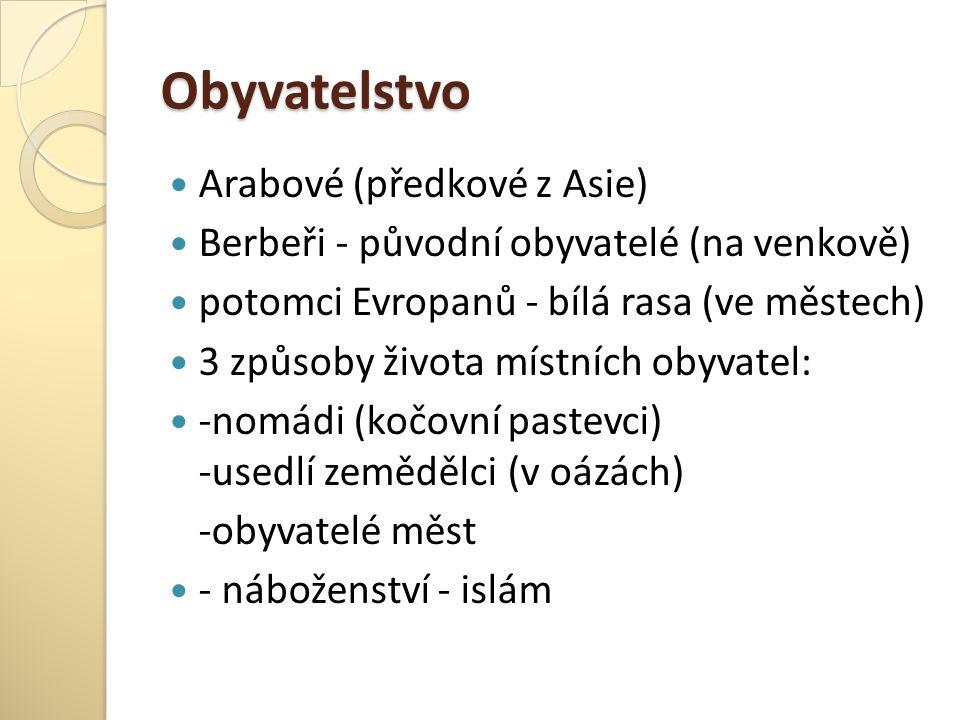 Obyvatelstvo Arabové (předkové z Asie) Berbeři - původní obyvatelé (na venkově) potomci Evropanů - bílá rasa (ve městech) 3 způsoby života místních ob
