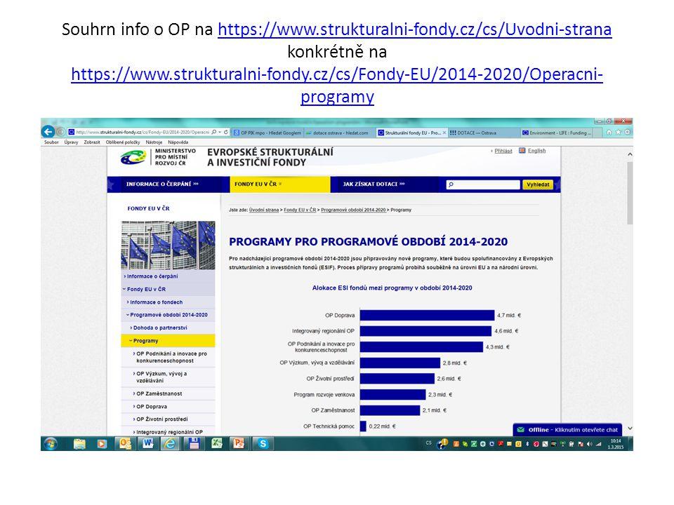 Souhrn info o OP na https://www.strukturalni-fondy.cz/cs/Uvodni-strana konkrétně na https://www.strukturalni-fondy.cz/cs/Fondy-EU/2014-2020/Operacni- programyhttps://www.strukturalni-fondy.cz/cs/Uvodni-strana https://www.strukturalni-fondy.cz/cs/Fondy-EU/2014-2020/Operacni- programy