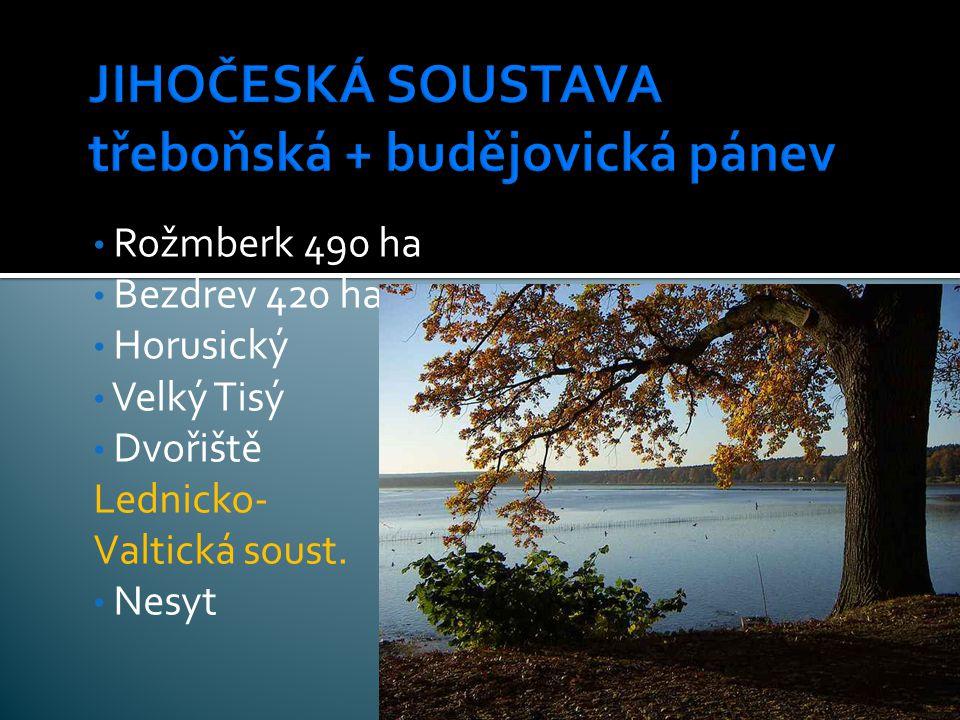 Rožmberk 490 ha Bezdrev 420 ha Horusický Velký Tisý Dvořiště Lednicko- Valtická soust. Nesyt