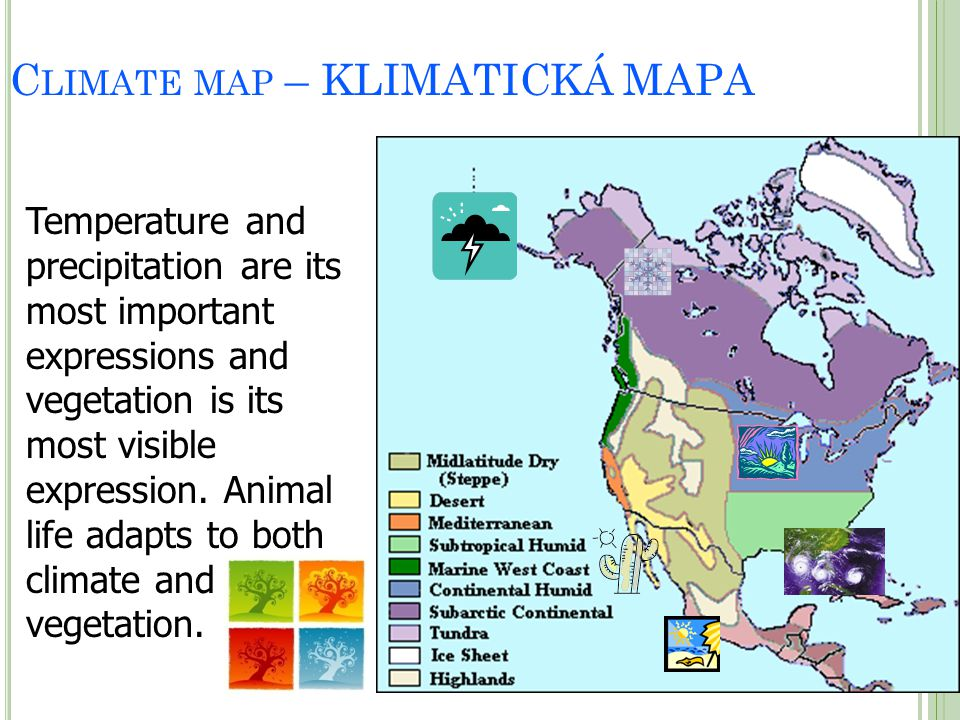 C LIMATE MAP – KLIMATICKÁ MAPA Temperature and precipitation are its most important expressions and vegetation is its most visible expression. Animal