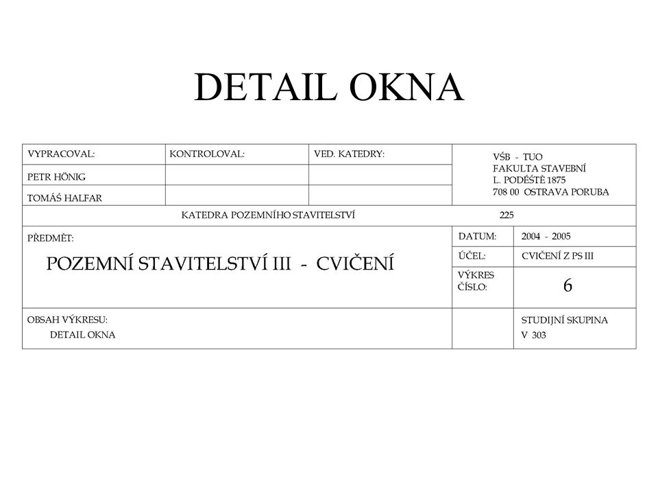 DETAIL OKNA