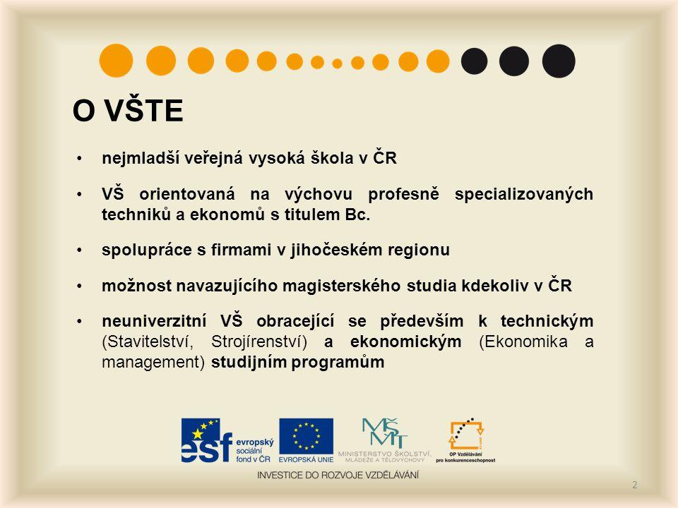 O VŠTE nejmladší veřejná vysoká škola v ČR VŠ orientovaná na výchovu profesně specializovaných techniků a ekonomů s titulem Bc.