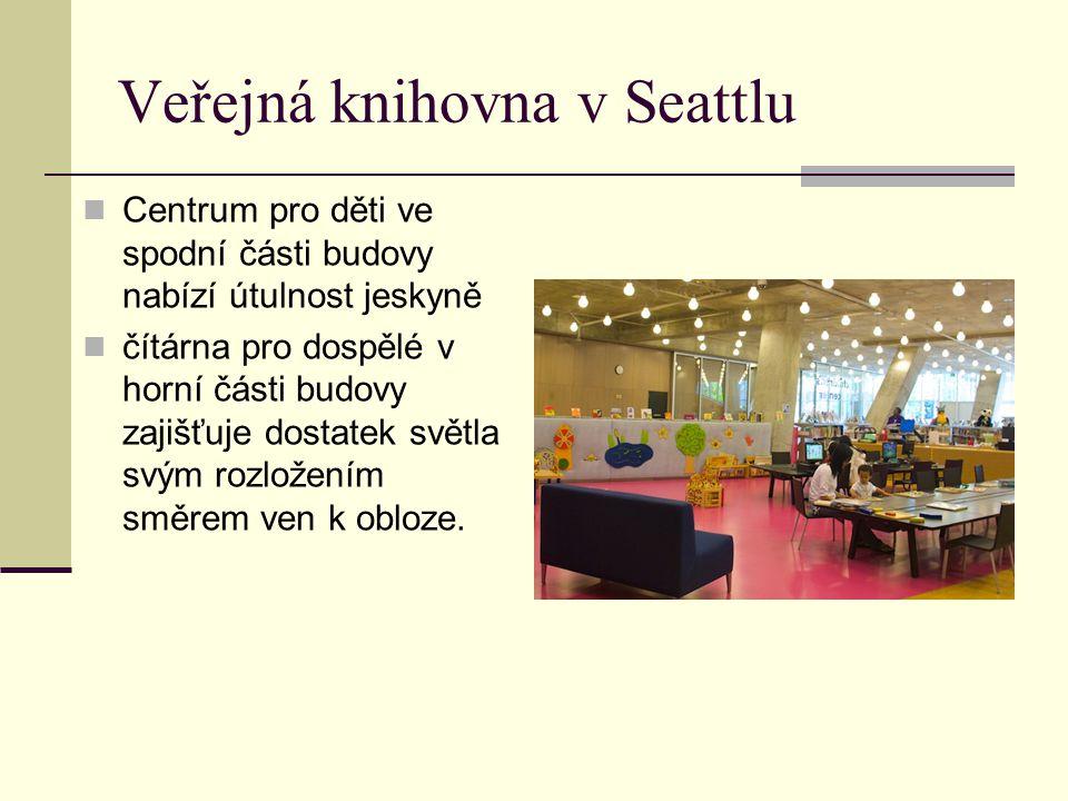 Veřejná knihovna v Seattlu Centrum pro děti ve spodní části budovy nabízí útulnost jeskyně čítárna pro dospělé v horní části budovy zajišťuje dostatek