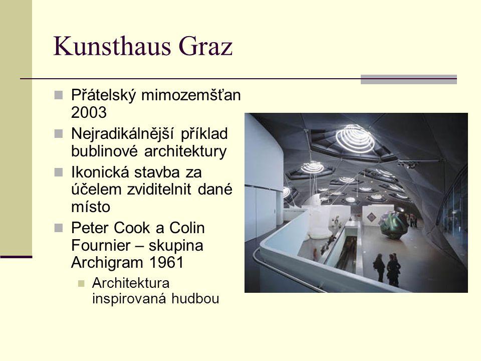 Kunsthaus Graz Přátelský mimozemšťan 2003 Nejradikálnější příklad bublinové architektury Ikonická stavba za účelem zviditelnit dané místo Peter Cook a