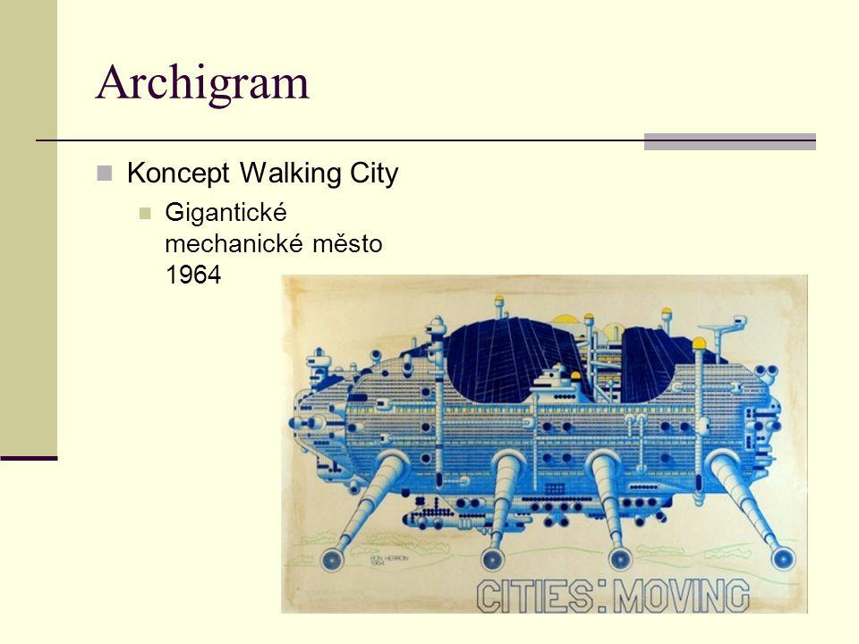 Archigram Koncept Walking City Gigantické mechanické město 1964