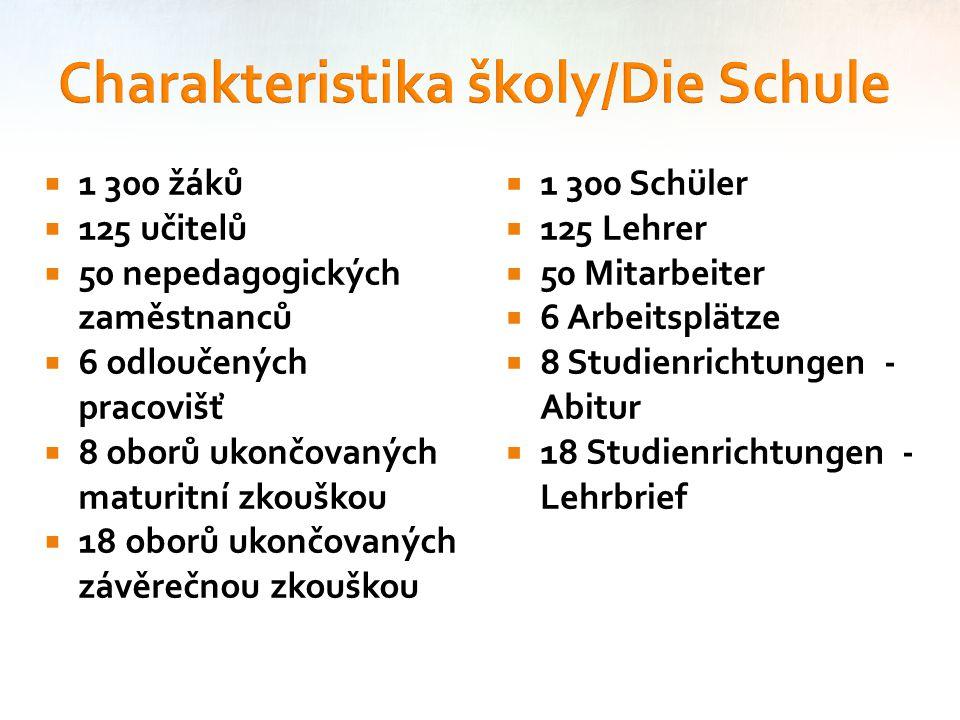  1 300 žáků  125 učitelů  50 nepedagogických zaměstnanců  6 odloučených pracovišť  8 oborů ukončovaných maturitní zkouškou  18 oborů ukončovanýc