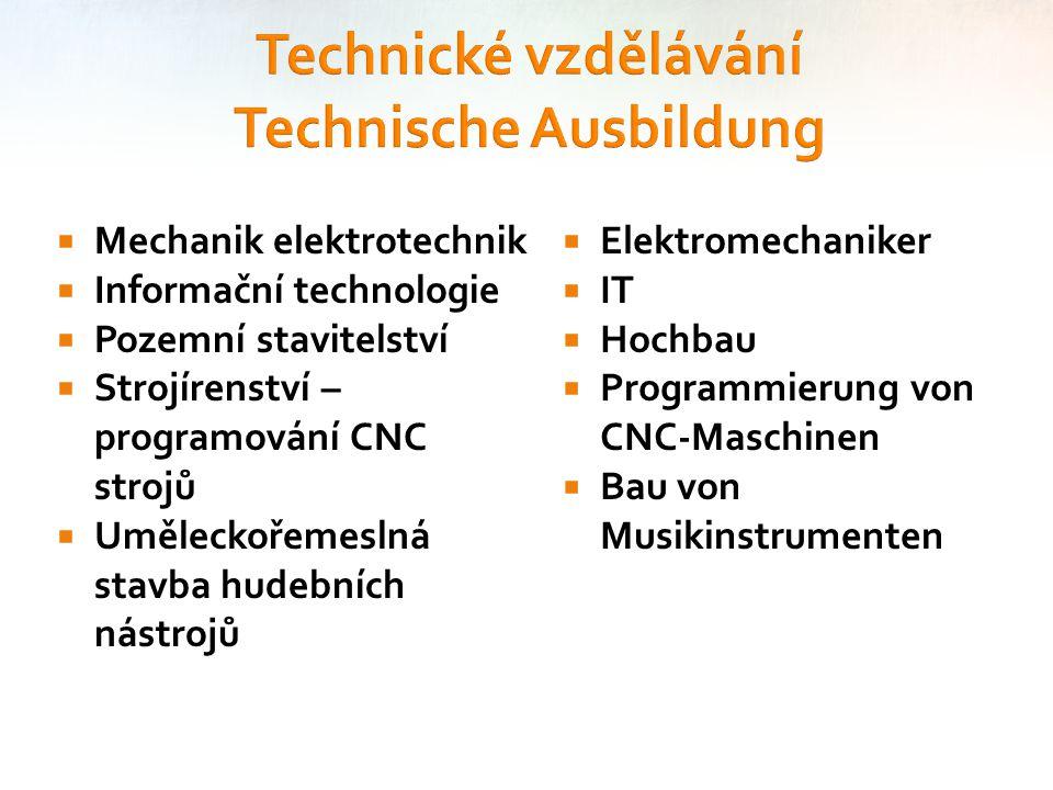  Mechanik elektrotechnik  Informační technologie  Pozemní stavitelství  Strojírenství – programování CNC strojů  Uměleckořemeslná stavba hudebníc