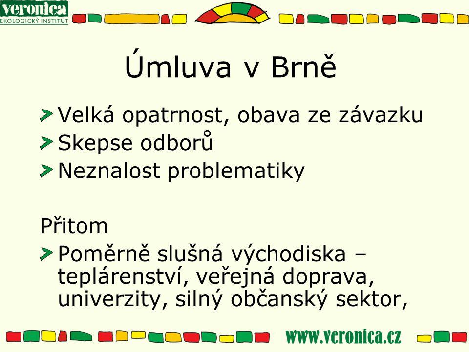 Úmluva v Brně Velká opatrnost, obava ze závazku Skepse odborů Neznalost problematiky Přitom Poměrně slušná východiska – teplárenství, veřejná doprava, univerzity, silný občanský sektor,