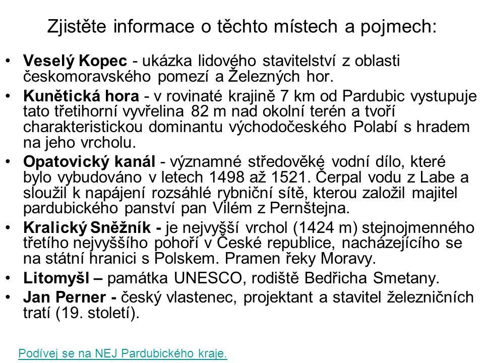 Zjistěte informace o těchto místech a pojmech: Veselý Kopec - ukázka lidového stavitelství z oblasti českomoravského pomezí a Železných hor. Kunětická
