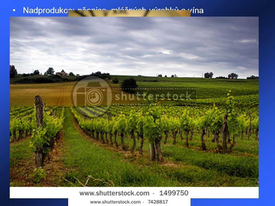 Nadprodukce: pšenice, mléčných výrobků a vína Pěstování: pšenice, kukuřice, ječmen, cukrová řepa, brambory, slunečnice, chmel, tabák, rýže, zelenina,