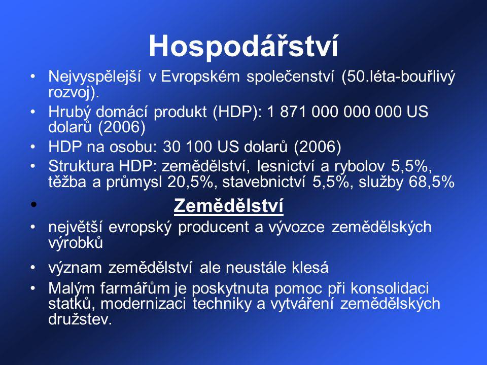 Hospodářství Nejvyspělejší v Evropském společenství (50.léta-bouřlivý rozvoj). Hrubý domácí produkt (HDP): 1 871 000 000 000 US dolarů (2006) HDP na o