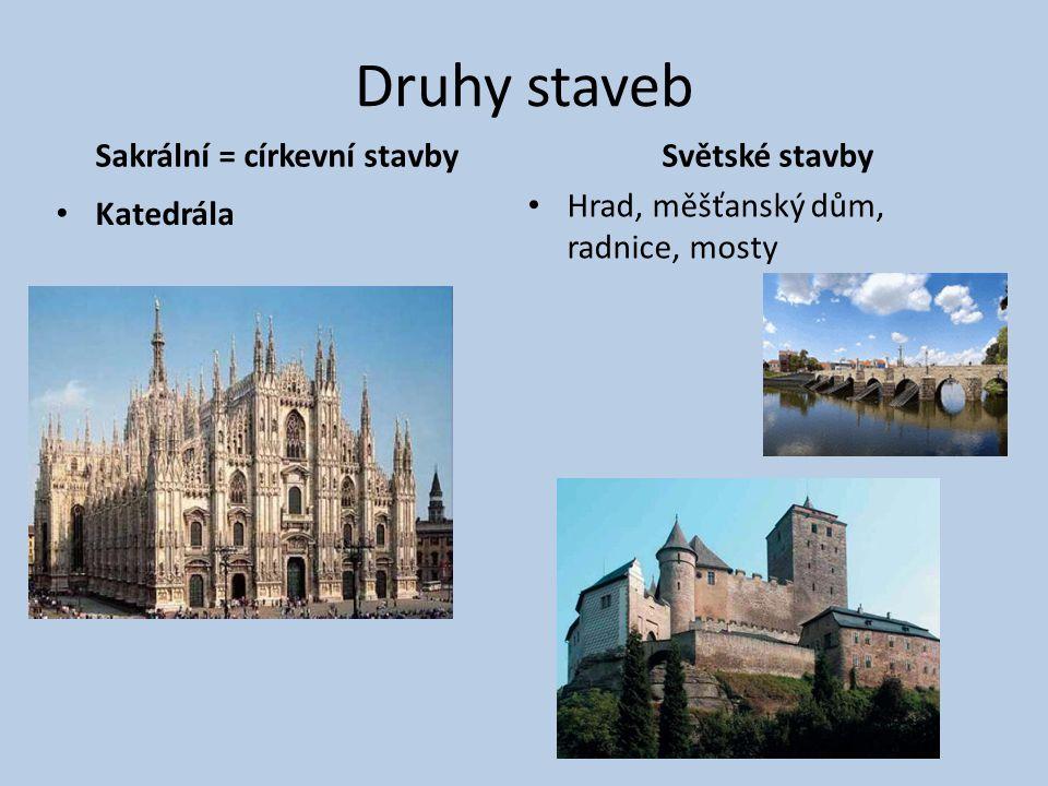Druhy staveb Sakrální = církevní stavby Katedrála Světské stavby Hrad, měšťanský dům, radnice, mosty