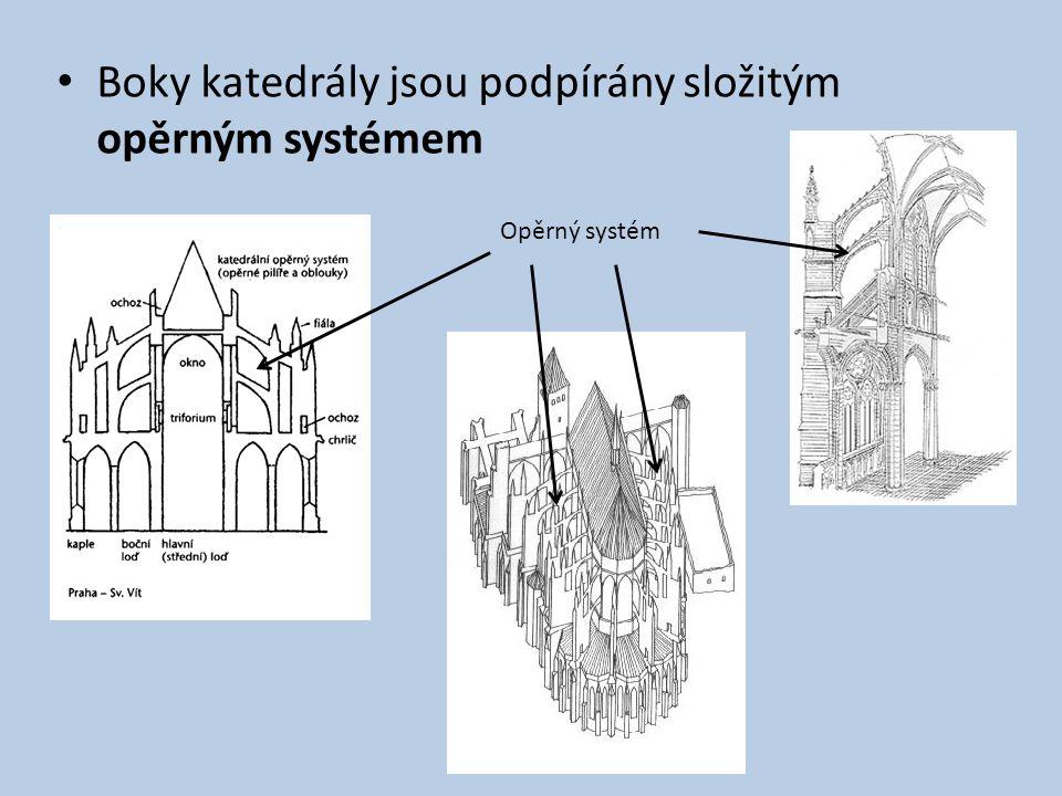 Boky katedrály jsou podpírány složitým opěrným systémem Opěrný systém