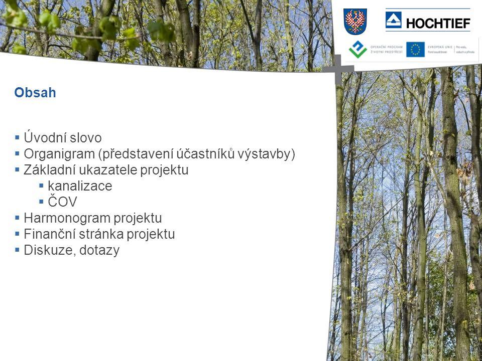 Obsah  Úvodní slovo  Organigram (představení účastníků výstavby)  Základní ukazatele projektu  kanalizace  ČOV  Harmonogram projektu  Finanční