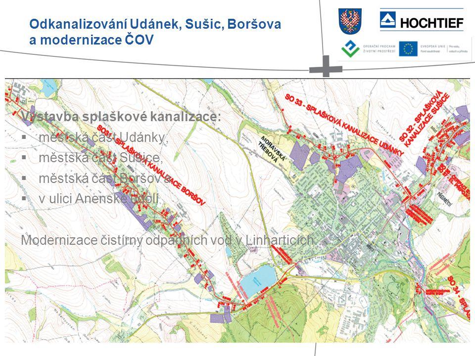 Výstavba splaškové kanalizace:  městská část Udánky,  městská část Sušice,  městská část Boršov a  v ulici Anenské údolí Modernizace čistírny odpa