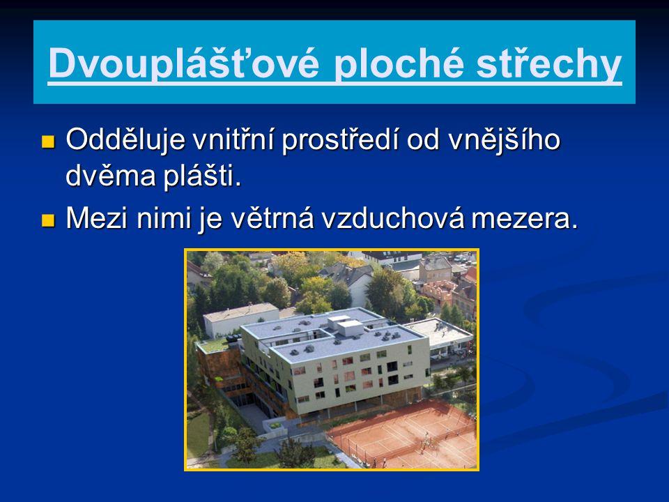 Dvouplášťové ploché střechy Odděluje vnitřní prostředí od vnějšího dvěma plášti. Odděluje vnitřní prostředí od vnějšího dvěma plášti. Mezi nimi je vět