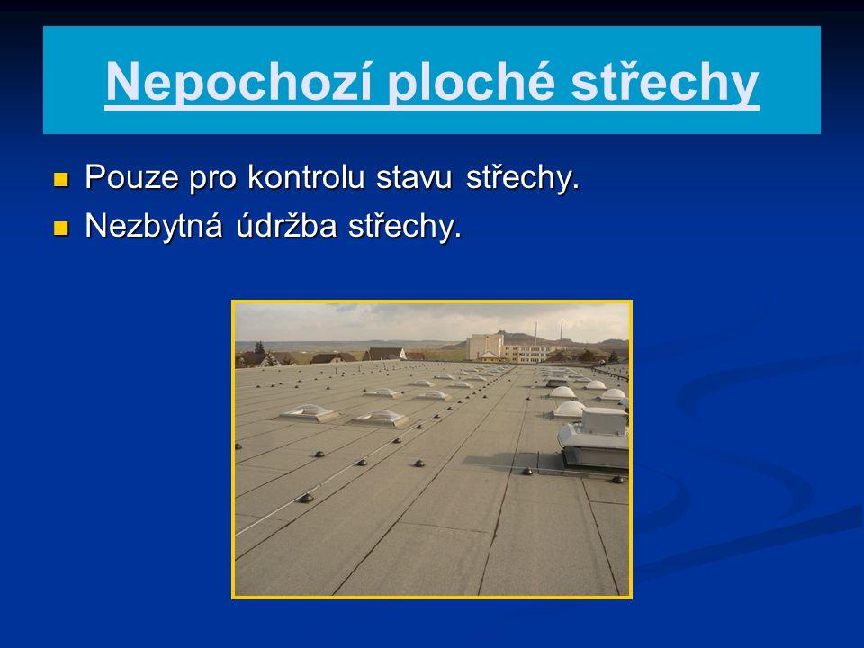 Nepochozí ploché střechy Pouze pro kontrolu stavu střechy. Pouze pro kontrolu stavu střechy. Nezbytná údržba střechy. Nezbytná údržba střechy.