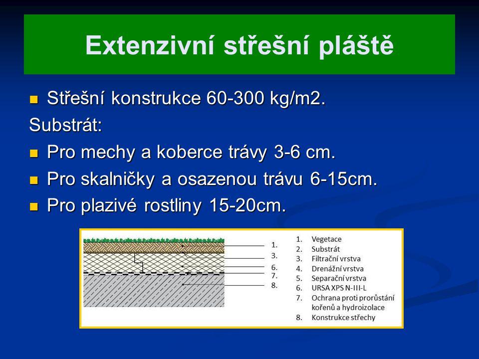 Extenzivní střešní pláště Střešní konstrukce 60-300 kg/m2. Střešní konstrukce 60-300 kg/m2.Substrát: Pro mechy a koberce trávy 3-6 cm. Pro mechy a kob