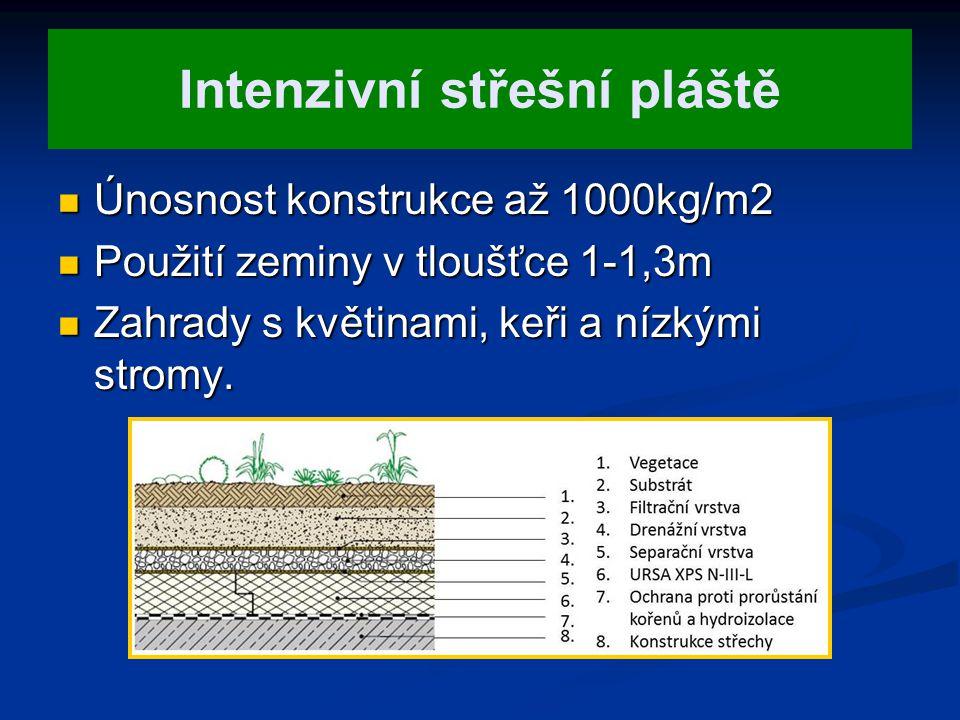 Intenzivní střešní pláště Únosnost konstrukce až 1000kg/m2 Únosnost konstrukce až 1000kg/m2 Použití zeminy v tloušťce 1-1,3m Použití zeminy v tloušťce