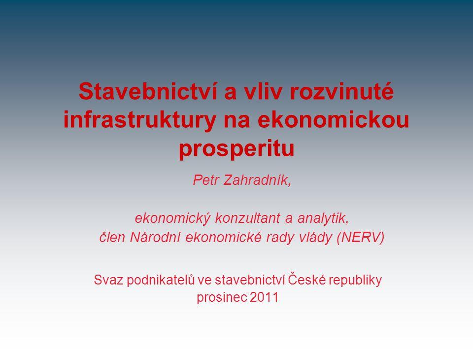 Stavebnictví a vliv rozvinuté infrastruktury na ekonomickou prosperitu Svaz podnikatelů ve stavebnictví České republiky prosinec 2011 Petr Zahradník,