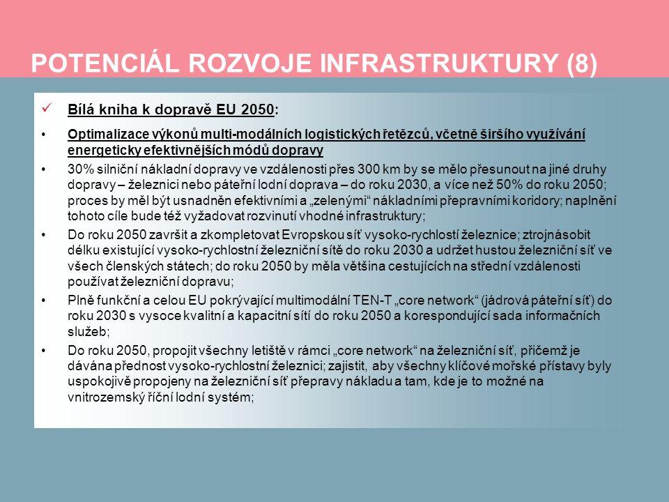 POTENCIÁL ROZVOJE INFRASTRUKTURY (8) Bílá kniha k dopravě EU 2050 : Optimalizace výkonů multi-modálních logistických řetězců, včetně širšího využívání