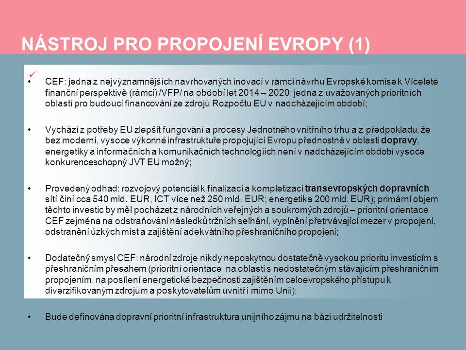 NÁSTROJ PRO PROPOJENÍ EVROPY (1) CEF: jedna z nejvýznamnějších navrhovaných inovací v rámci návrhu Evropské komise k Víceleté finanční perspektivě (rá