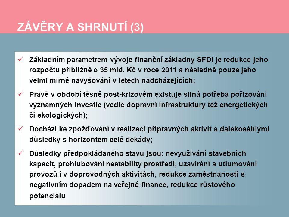 ZÁVĚRY A SHRNUTÍ (3) Základním parametrem vývoje finanční základny SFDI je redukce jeho rozpočtu přibližně o 35 mld. Kč v roce 2011 a následně pouze j