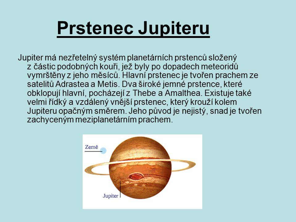 Prstenec Jupiteru Jupiter má nezřetelný systém planetárních prstenců složený z částic podobných kouři, jež byly po dopadech meteoridů vymrštěny z jeho měsíců.