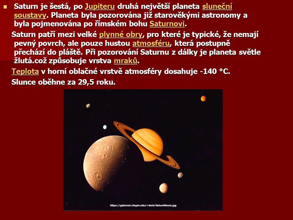 Saturn je šestá, po Jupiteru druhá největší planeta sluneční soustavy. Planeta byla pozorována již starověkými astronomy a byla pojmenována po římském